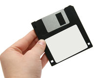Black floppy disc in hand Stock Image