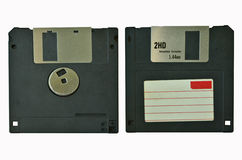 Black floppy disk closeup. Front and back of black floppy disk close up Royalty Free Stock Photos