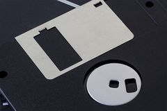 Black Floppy Disks. Black floppy disk drive FDD, data storage for pc in the old day Royalty Free Stock Images