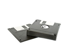 Black floppy disk on white Royalty Free Stock Photo
