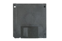 Black floppy disk on white background Royalty Free Stock Image