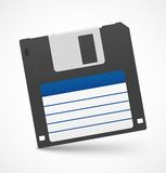Black floppy diskette on white background Stock Image
