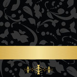 Black floral background and golden banner. Vector black floral background with golden banner Royalty Free Stock Photos