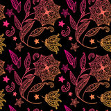 Black floral background with indian ornament. Red vector background with indian ornament Royalty Free Illustration