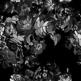 Floral pattern seamless Black white  floral background Royalty Free Stock Photo