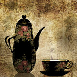 Black floral cup and pot grunge background Stock Photo