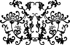 Black Floral Curves Ornament Royalty Free Stock Photo