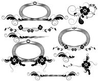 Black floral design elements Royalty Free Stock Images