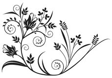 Black floral element. Black floral design element isolated on white Royalty Free Stock Photo