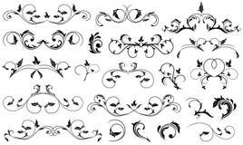 Black floral elements. Set of Black floral elements for decor, Illustration Royalty Free Stock Photography