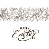 Black floral elements with eggs and lettering Happy Easter Royalty Free Stock Photos