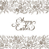 Black floral elements and lettering Happy Easter Royalty Free Stock Photos