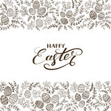 Black floral elements and lettering Happy Easter on white backgr Royalty Free Stock Photo