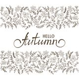 Black floral elements with lettering Hello Autumn vector illustration
