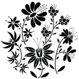 Black Floral folk pattern in circle shape on white background Stock Photography
