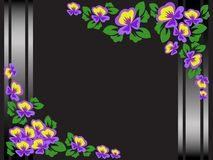 Black floral frame. Frame of purple flowers on a black background with shimmering stripes Royalty Free Stock Photo