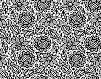 Black floral lace vintage ornament seamless pattern Stock Photography