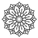 Black floral mandala pattern on white background royalty free illustration