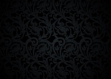 Black floral ornament with flowers and curls Royalty Free Stock Images