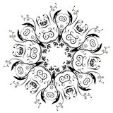 Black Floral Ornament Round Royalty Free Stock Images