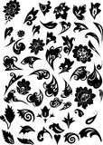 Black floral pattern elements Royalty Free Stock Photography