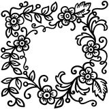 Black floral patterns. On white background Royalty Free Stock Images