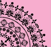 Black floral quadrant on pink. Illustration with black decoration on pink background Royalty Free Stock Photo