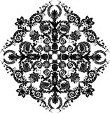 Black floral rhombus decoration Royalty Free Stock Photography