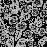 Black floral seamless background Royalty Free Stock Photos