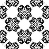 Black floral seamless ornament on white background. Seamless pattern for textile and wallpapers Stock Photo
