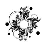 Black floral silhouette for monogram design. Vector illustration stock illustration