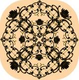 Black floral square design on beige Stock Images