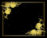 Black floral vector card with gold decorations Stock Photos