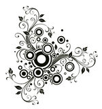 Black flower and circle pattern Royalty Free Stock Photography