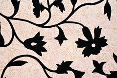 Black flower design pattern. Beautiful background with black flower like design on a piece of cloth Stock Image