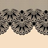Black flower lace border Stock Photography
