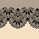 Black flower lace border Stock Photography