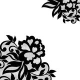 Black flower lace ornament. Stock Photo