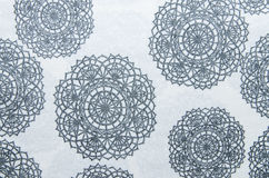 Black flower pattern of fabric Royalty Free Stock Images