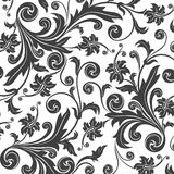 Black flower seamless pattern Stock Photo
