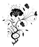 Black flower silhouette. Drawing of flower pattern in a white background Royalty Free Stock Images