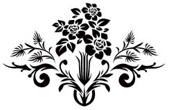 Black flower silhouette pattern Royalty Free Stock Photography