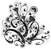 Black flower and vines silhouette. Drawing of black flower pattern in a white background Stock Image