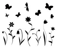 Black flowers, butterflies and dragonflies. Black flowers butterflies and dragonflies silhouettes. Vector backgrounds, prints, textile decoration Royalty Free Stock Photography