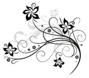 Black flowers, floral element Royalty Free Stock Photos