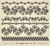 Black flowers ornaments Royalty Free Stock Photography