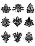 Black flowers in retro damask style Stock Photos