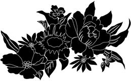 Black flowers silhouettes Stock Photo