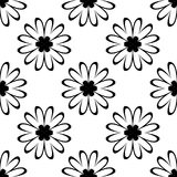 Black flowers on white background. Ornamental seamless pattern. Black flowers on white background. Seamless pattern for textile and wallpapers Royalty Free Stock Images