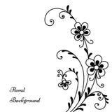 Black flowers on white. Decorative background, floral design template stock illustration